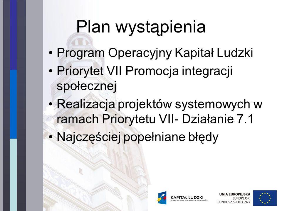 Plan wystąpienia Program Operacyjny Kapitał Ludzki Priorytet VII Promocja integracji społecznej Realizacja projektów systemowych w ramach Priorytetu VII- Działanie 7.1 Najczęściej popełniane błędy