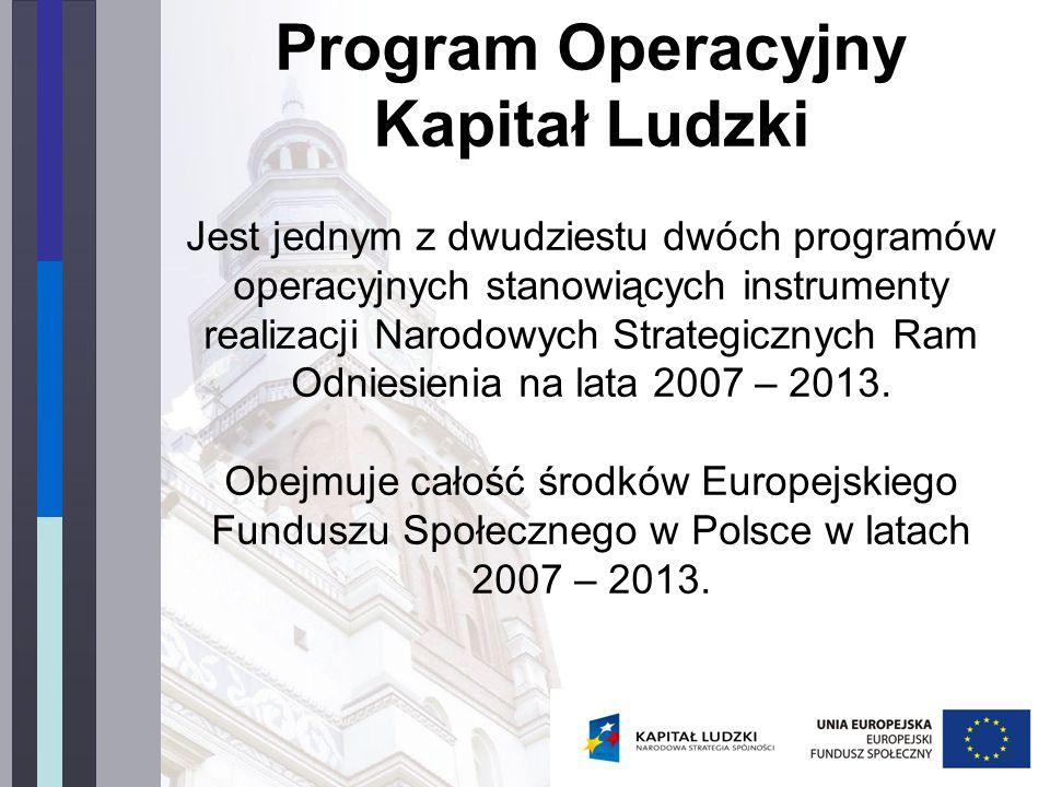 Program Operacyjny Kapitał Ludzki Jest jednym z dwudziestu dwóch programów operacyjnych stanowiących instrumenty realizacji Narodowych Strategicznych Ram Odniesienia na lata 2007 – 2013.