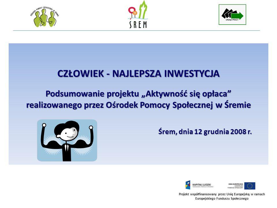 Projekt współfinansowany przez Unię Europejską w ramach Europejskiego Funduszu Społecznego CZŁOWIEK - NAJLEPSZA INWESTYCJA Podsumowanie projektu Aktyw