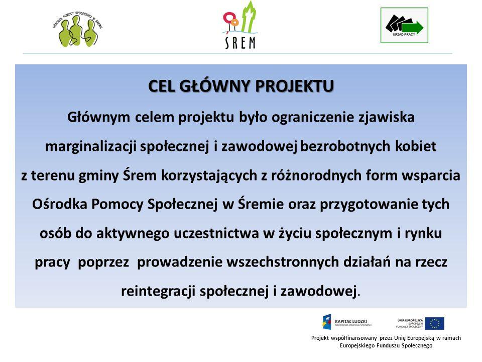 Projekt współfinansowany przez Unię Europejską w ramach Europejskiego Funduszu Społecznego CEL GŁÓWNY PROJEKTU Głównym celem projektu było ograniczeni