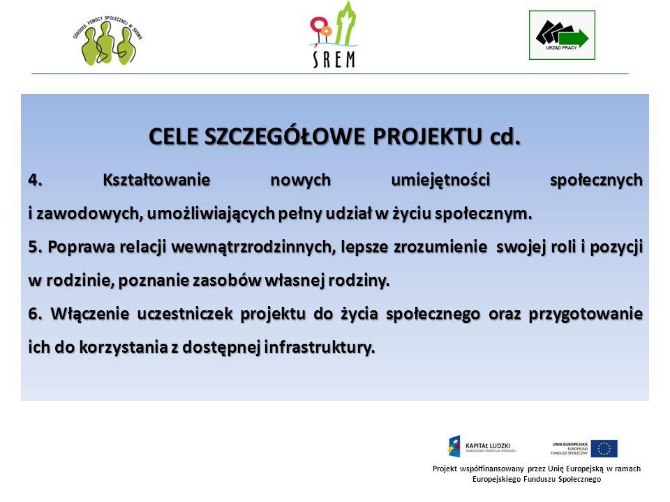 Projekt współfinansowany przez Unię Europejską w ramach Europejskiego Funduszu Społecznego CELE SZCZEGÓŁOWE PROJEKTU cd. 4. Kształtowanie nowych umiej