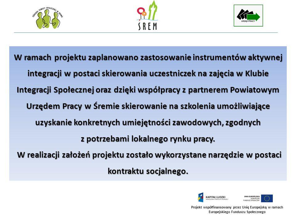 Projekt współfinansowany przez Unię Europejską w ramach Europejskiego Funduszu Społecznego W ramach projektu zaplanowano zastosowanie instrumentów akt