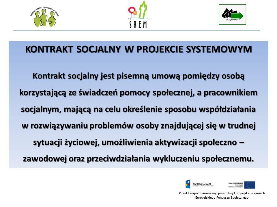 Projekt współfinansowany przez Unię Europejską w ramach Europejskiego Funduszu Społecznego KONTRAKT SOCJALNY W PROJEKCIE SYSTEMOWYM Kontrakt socjalny