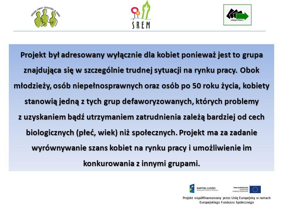 Projekt współfinansowany przez Unię Europejską w ramach Europejskiego Funduszu Społecznego Projekt był adresowany wyłącznie dla kobiet ponieważ jest t