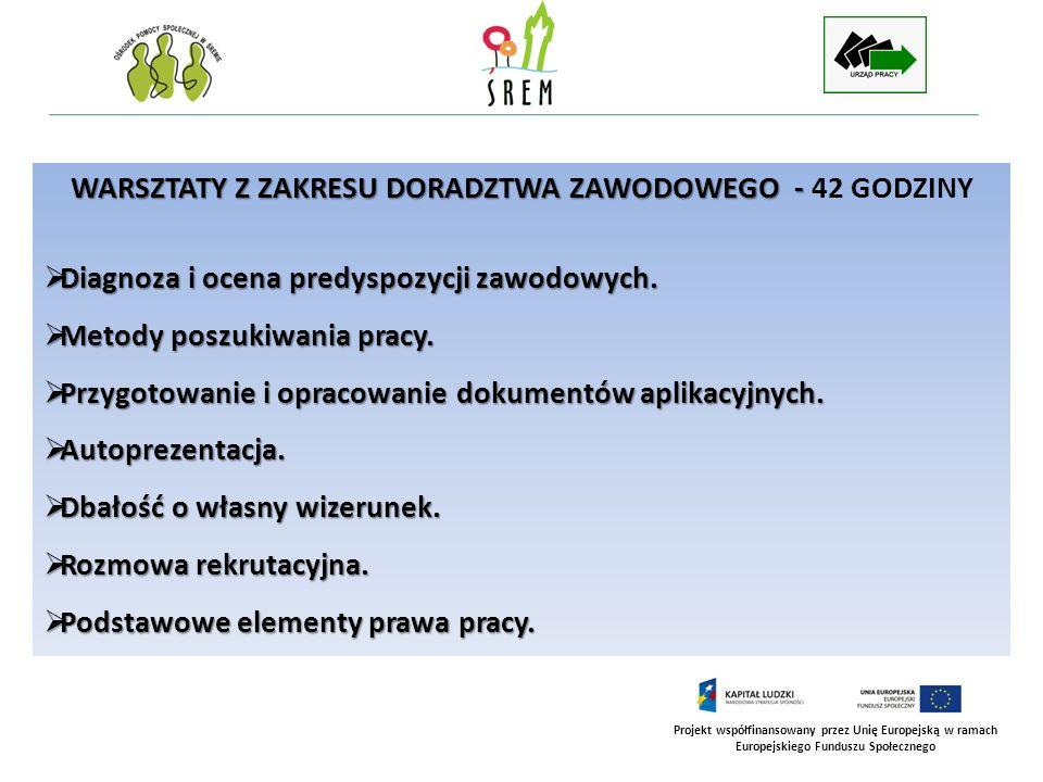 Projekt współfinansowany przez Unię Europejską w ramach Europejskiego Funduszu Społecznego WARSZTATY Z ZAKRESU DORADZTWA ZAWODOWEGO - WARSZTATY Z ZAKR