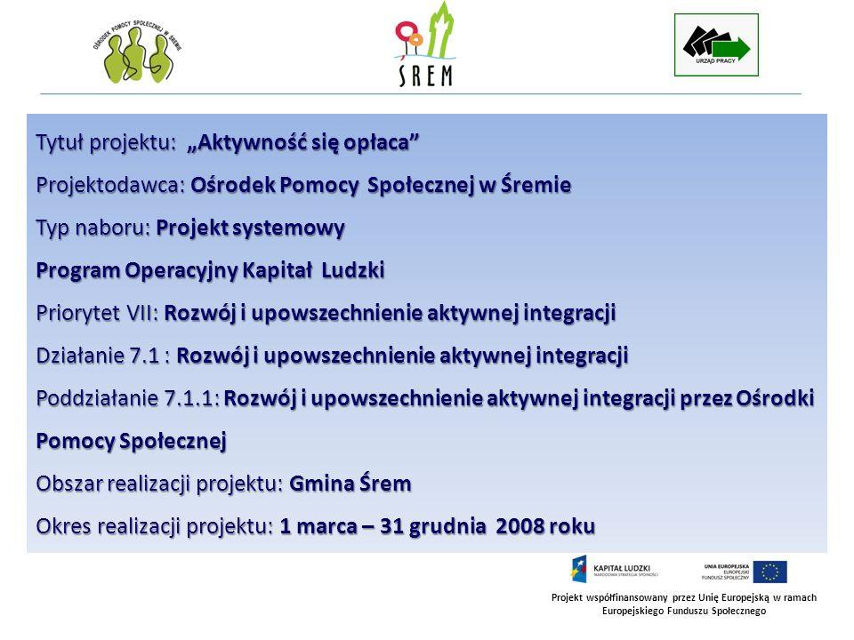 Projekt współfinansowany przez Unię Europejską w ramach Europejskiego Funduszu Społecznego Tytuł projektu: Aktywność się opłaca Projektodawca: Ośrodek
