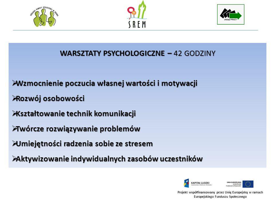 Projekt współfinansowany przez Unię Europejską w ramach Europejskiego Funduszu Społecznego WARSZTATY PSYCHOLOGICZNE – 42 GODZINY Wzmocnienie poczucia