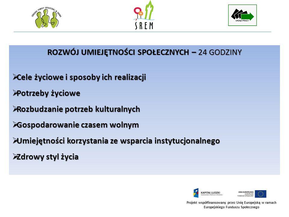 Projekt współfinansowany przez Unię Europejską w ramach Europejskiego Funduszu Społecznego ROZWÓJ UMIEJĘTNOŚCI SPOŁECZNYCH – 24 GODZINY Cele życiowe i