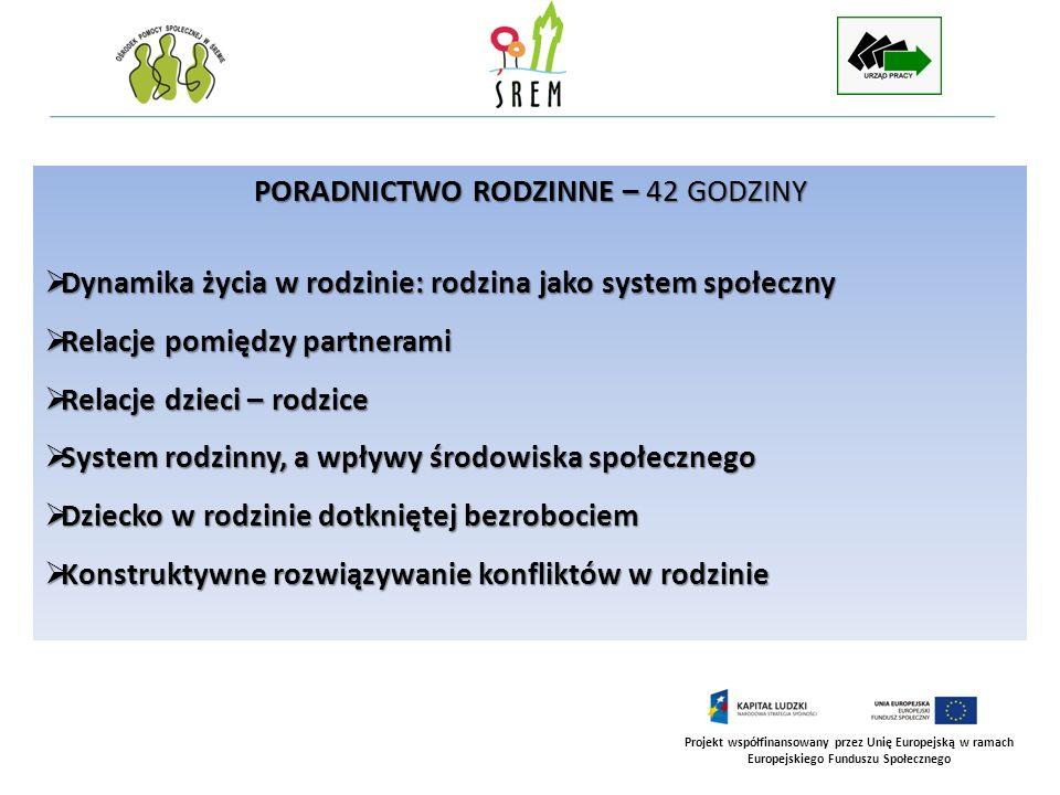 Projekt współfinansowany przez Unię Europejską w ramach Europejskiego Funduszu Społecznego PORADNICTWO RODZINNE – 42 GODZINY Dynamika życia w rodzinie