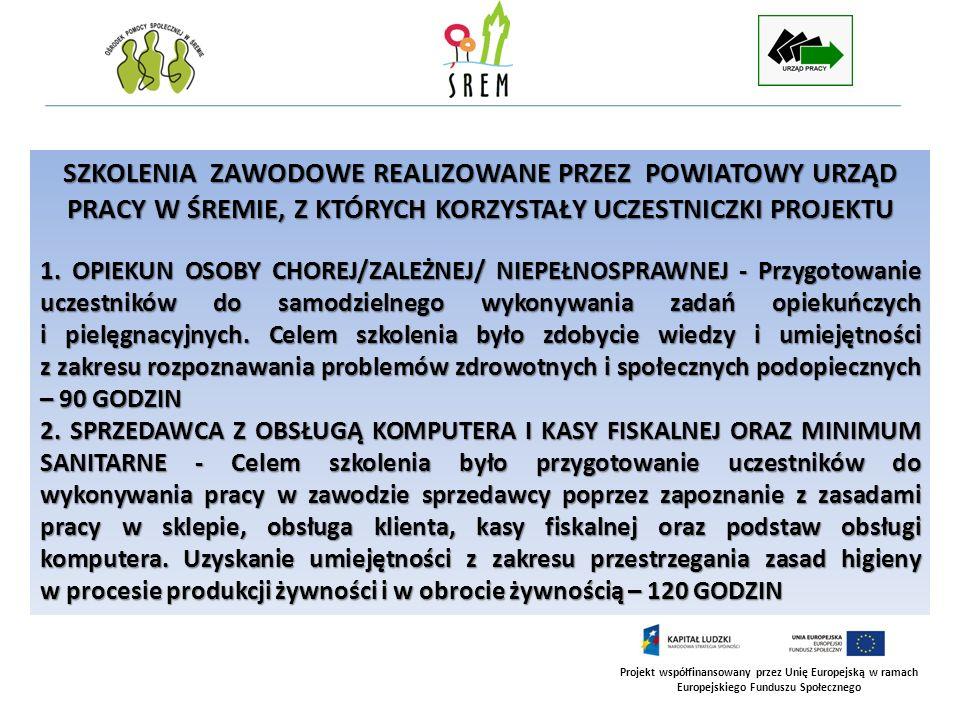 Projekt współfinansowany przez Unię Europejską w ramach Europejskiego Funduszu Społecznego SZKOLENIA ZAWODOWE REALIZOWANE PRZEZ POWIATOWY URZĄD PRACY