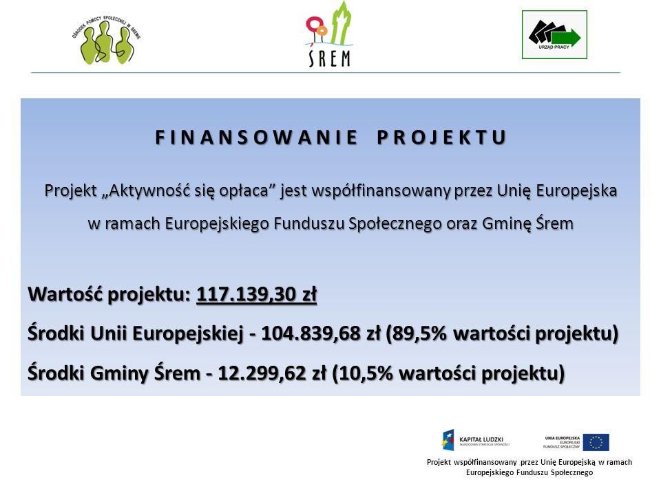 Projekt współfinansowany przez Unię Europejską w ramach Europejskiego Funduszu Społecznego F I N A N S O W A N I E P R O J E K T U Projekt Aktywność s