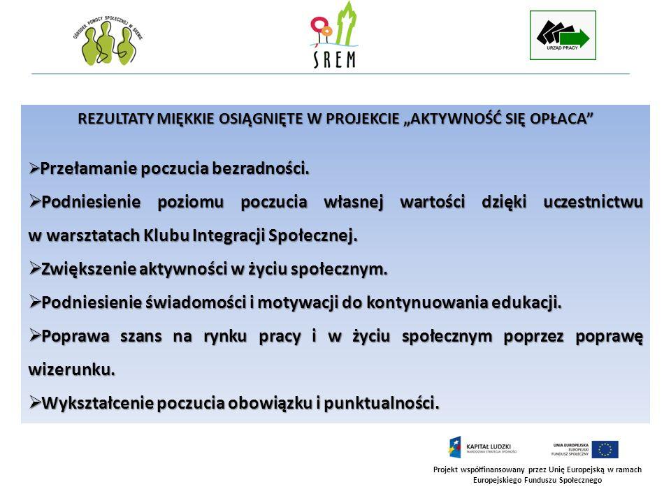 Projekt współfinansowany przez Unię Europejską w ramach Europejskiego Funduszu Społecznego REZULTATY MIĘKKIE OSIĄGNIĘTE W PROJEKCIE AKTYWNOŚĆ SIĘ OPŁA