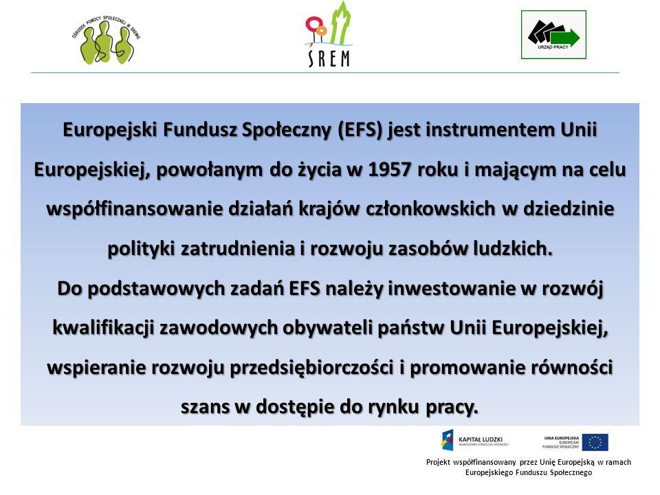 Projekt współfinansowany przez Unię Europejską w ramach Europejskiego Funduszu Społecznego Europejski Fundusz Społeczny (EFS) jest instrumentem Unii E
