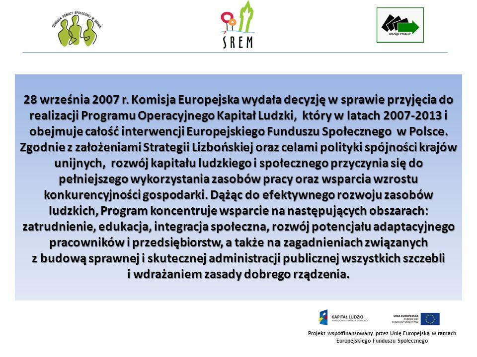 Projekt współfinansowany przez Unię Europejską w ramach Europejskiego Funduszu Społecznego 28 września 2007 r. Komisja Europejska wydała decyzję w spr