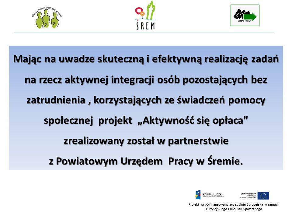 Projekt współfinansowany przez Unię Europejską w ramach Europejskiego Funduszu Społecznego Mając na uwadze skuteczną i efektywną realizację zadań na r