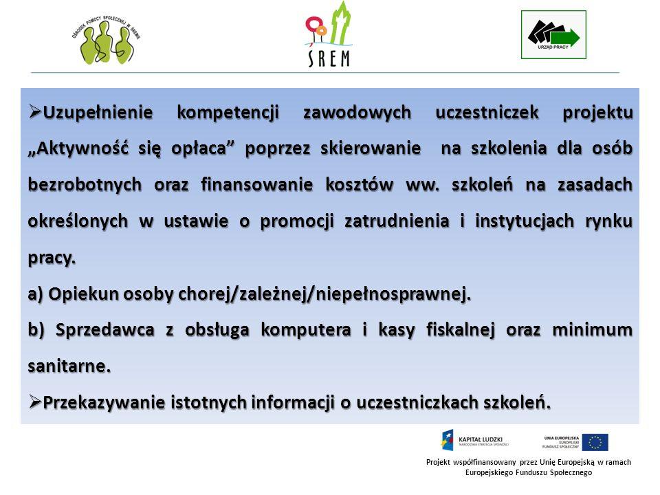 Projekt współfinansowany przez Unię Europejską w ramach Europejskiego Funduszu Społecznego Uzupełnienie kompetencji zawodowych uczestniczek projektu A