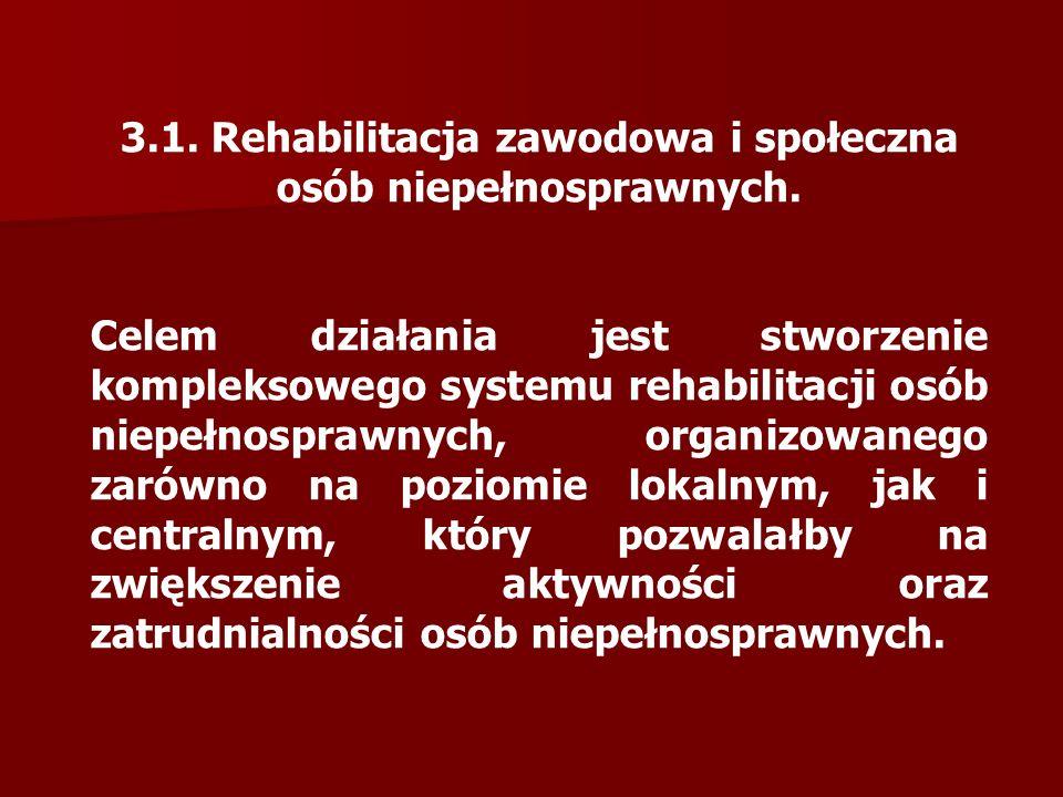 3.1. Rehabilitacja zawodowa i społeczna osób niepełnosprawnych.