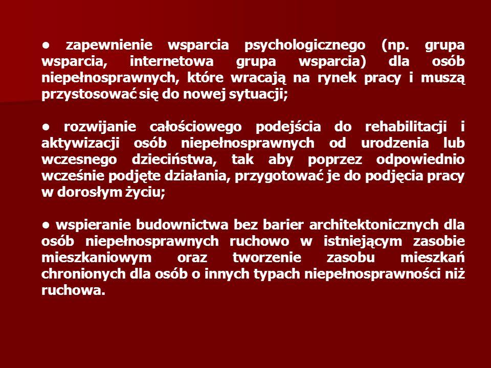 zapewnienie wsparcia psychologicznego (np.