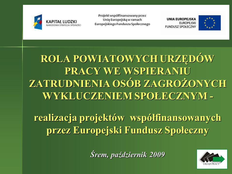 ROLA POWIATOWYCH URZĘDÓW PRACY WE WSPIERANIU ZATRUDNIENIA OSÓB ZAGROŻONYCH WYKLUCZENIEM SPOŁECZNYM - realizacja projektów współfinansowanych przez Eur