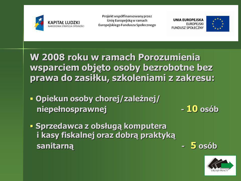 W 2008 roku w ramach Porozumienia wsparciem objęto osoby bezrobotne bez prawa do zasiłku, szkoleniami z zakresu: Opiekun osoby chorej/zależnej/ niepeł
