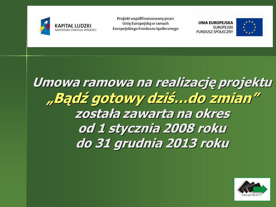 Umowa ramowa na realizację projektu Bądź gotowy dziś…do zmian została zawarta na okres od 1 stycznia 2008 roku do 31 grudnia 2013 roku Projekt współfi