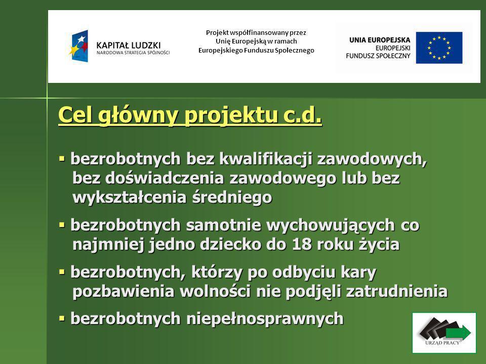 Projekt współfinansowany przez Unię Europejską w ramach Europejskiego Funduszu Społecznego Cel główny projektu c.d. bezrobotnych bez kwalifikacji zawo
