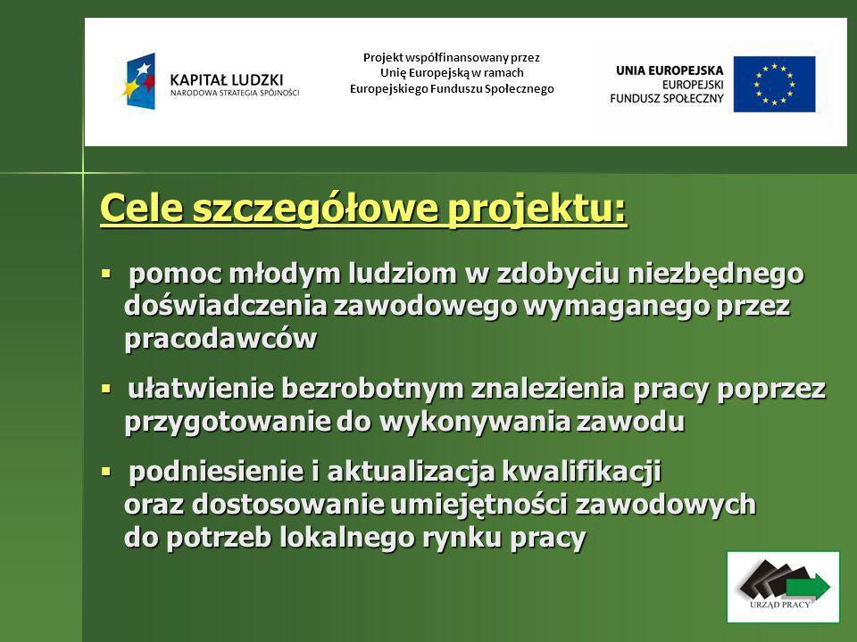 Projekt współfinansowany przez Unię Europejską w ramach Europejskiego Funduszu Społecznego Cele szczegółowe projektu c.d.: pobudzanie aktywności gospodarczej osób pobudzanie aktywności gospodarczej osób bezrobotnych oraz wspieranie idei bezrobotnych oraz wspieranie idei samozatrudnienia poprzez wypłatę jednorazowych samozatrudnienia poprzez wypłatę jednorazowych środków na podjęcie działalności gospodarczej środków na podjęcie działalności gospodarczej poprawa sytuacji materialnej osób objętych poprawa sytuacji materialnej osób objętych aktywizacją poprzez wypłatę stypendium za okres odbywania stażu i przygotowania aktywizacją poprzez wypłatę stypendium za okres odbywania stażu i przygotowania zawodowego w miejscu pracy, stypendium za okres zawodowego w miejscu pracy, stypendium za okres szkolenia szkolenia