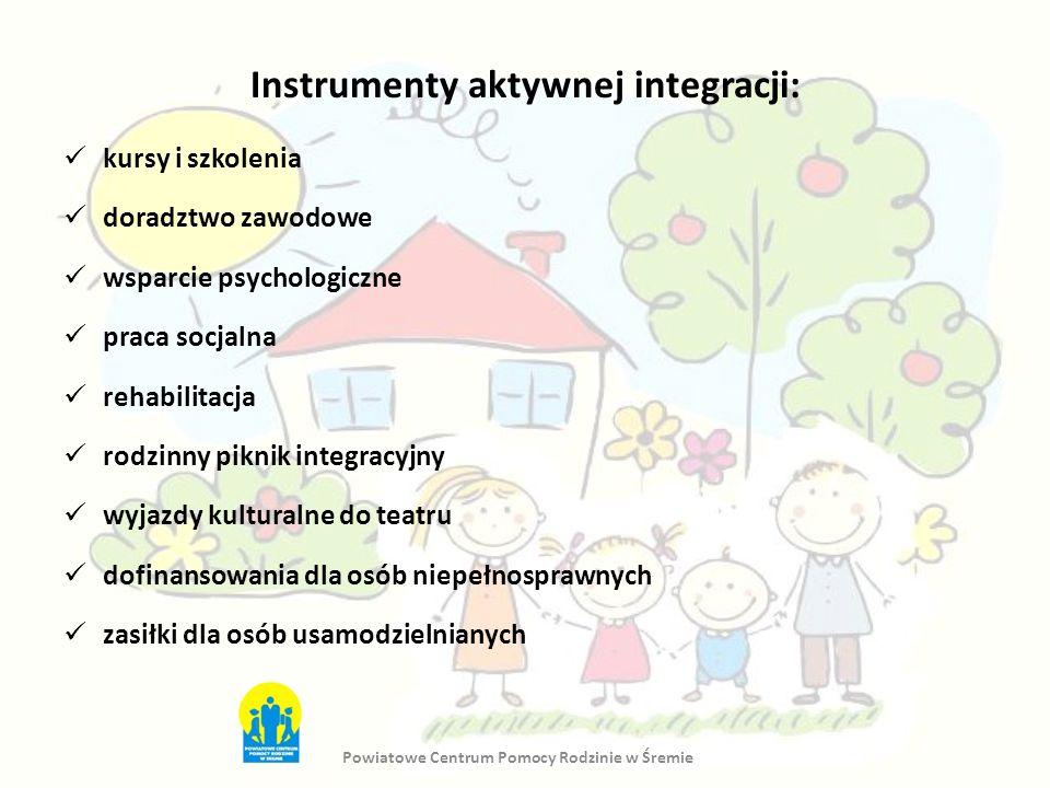 Instrumenty aktywnej integracji: kursy i szkolenia doradztwo zawodowe wsparcie psychologiczne praca socjalna rehabilitacja rodzinny piknik integracyjn