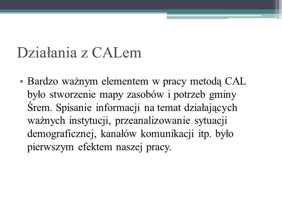 Działania z CALem Bardzo ważnym elementem w pracy metodą CAL było stworzenie mapy zasobów i potrzeb gminy Śrem.