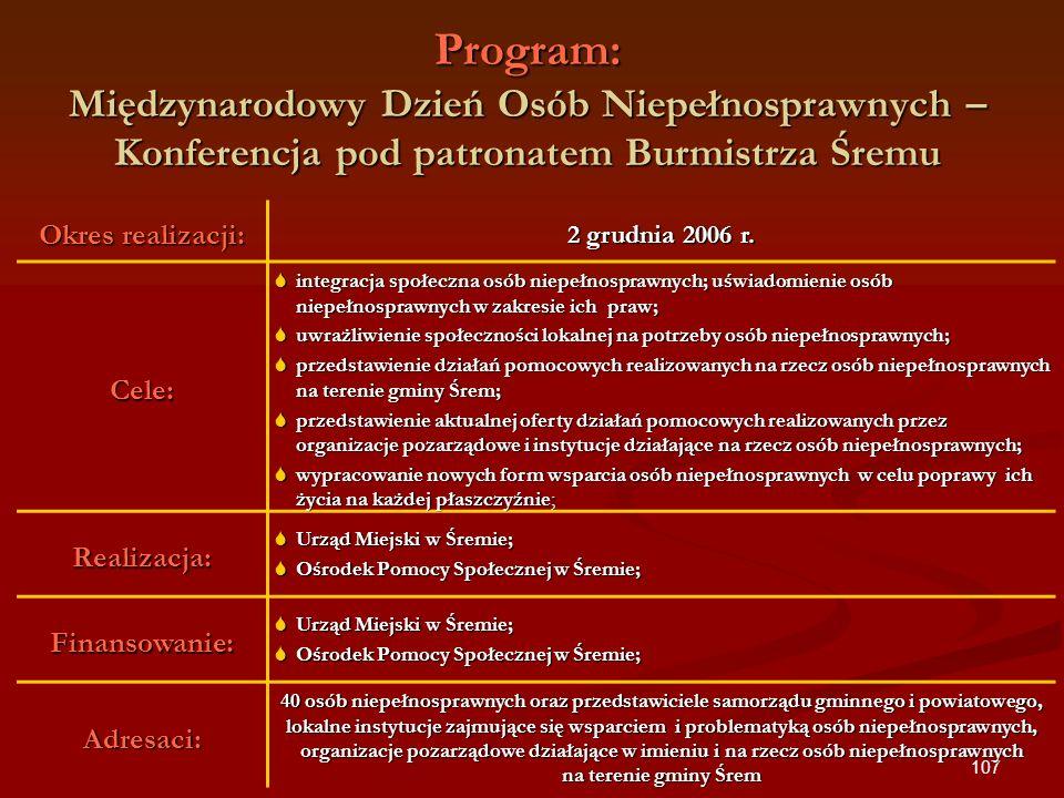 107 Program: Międzynarodowy Dzień Osób Niepełnosprawnych – Konferencja pod patronatem Burmistrza Śremu Okres realizacji: 2 grudnia 2006 r. Cele: integ