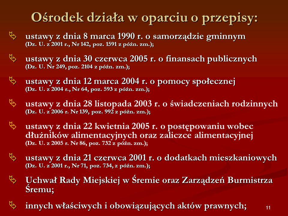 11 Ośrodek działa w oparciu o przepisy: ustawy z dnia 8 marca 1990 r. o samorządzie gminnym (Dz. U. z 2001 r., Nr 142, poz. 1591 z późn. zm.); ustawy