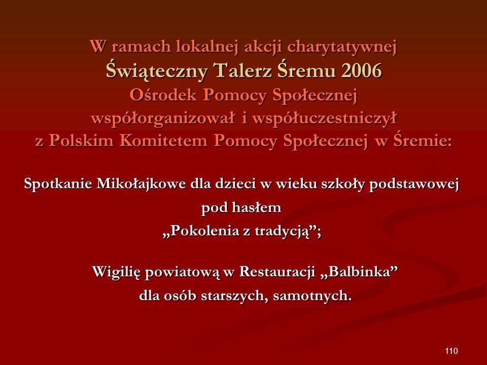110 W ramach lokalnej akcji charytatywnej Świąteczny Talerz Śremu 2006 Ośrodek Pomocy Społecznej współorganizował i współuczestniczył z Polskim Komite