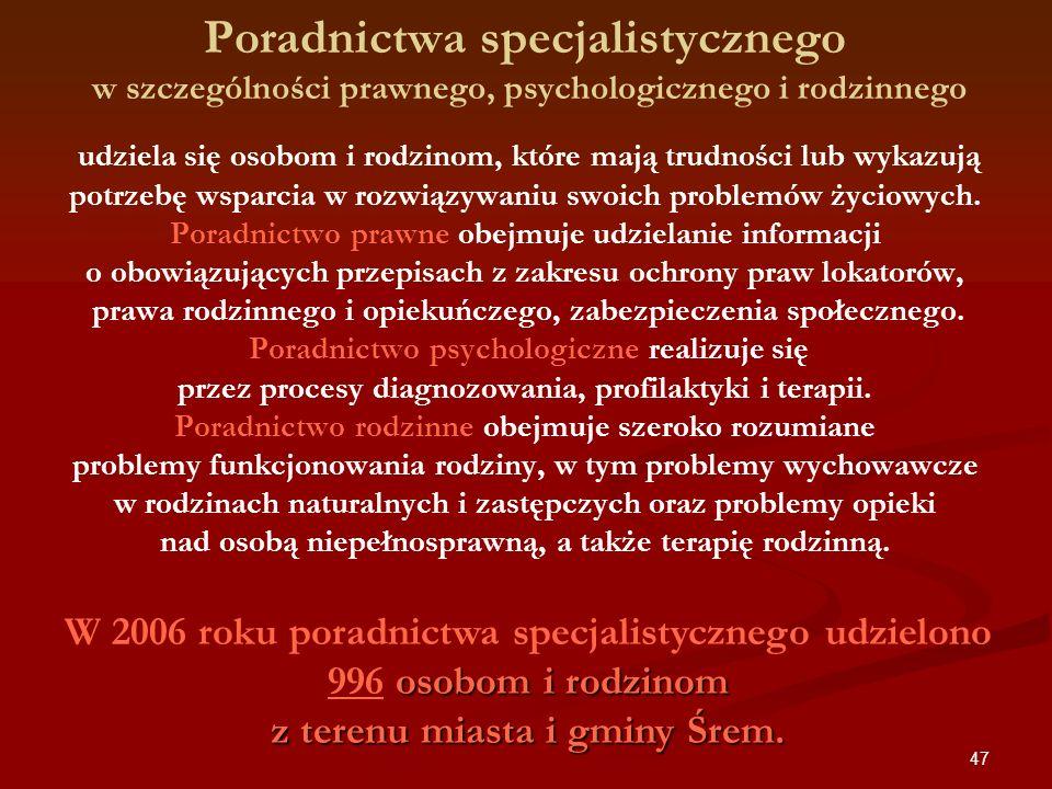 47 Poradnictwa specjalistycznego w szczególności prawnego, psychologicznego i rodzinnego udziela się osobom i rodzinom, które mają trudności lub wykaz