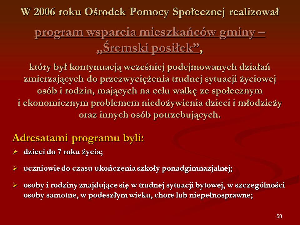 58 W 2006 roku Ośrodek Pomocy Społecznej realizował program wsparcia mieszkańców gminy – Śremski posiłek, który był kontynuacją wcześniej podejmowanyc