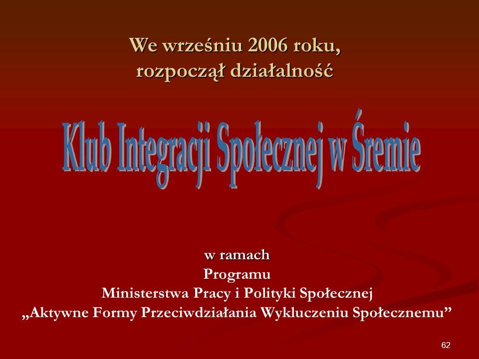62 w ramach w ramach Programu Ministerstwa Pracy i Polityki Społecznej Aktywne Formy Przeciwdziałania Wykluczeniu Społecznemu We wrześniu 2006 roku, r