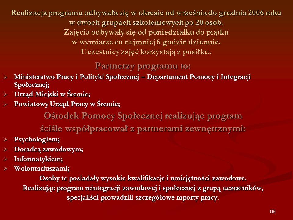 68 Realizacja programu odbywała się w okresie od września do grudnia 2006 roku w dwóch grupach szkoleniowych po 20 osób. Realizacja programu odbywała