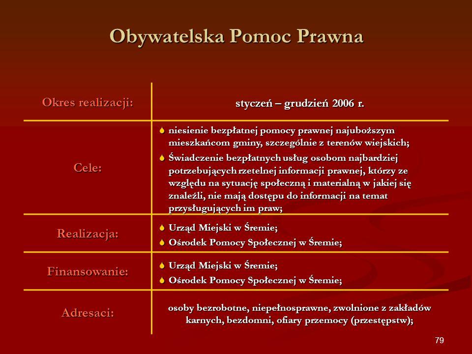 79 Obywatelska Pomoc Prawna Okres realizacji: styczeń – grudzień 2006 r. Cele: niesienie bezpłatnej pomocy prawnej najuboższym mieszkańcom gminy, szcz