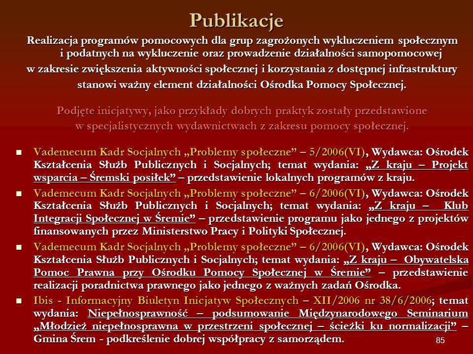 85 Publikacje Realizacja programów pomocowych dla grup zagrożonych wykluczeniem społecznym i podatnych na wykluczenie oraz prowadzenie działalności sa