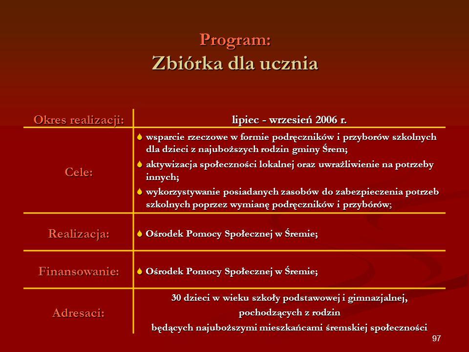 97 Program: Zbiórka dla ucznia Okres realizacji: lipiec - wrzesień 2006 r. Cele: wsparcie rzeczowe w formie podręczników i przyborów szkolnych dla dzi