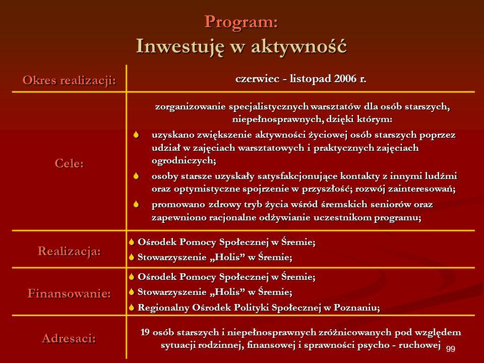 99 Program: Inwestuję w aktywność Okres realizacji: czerwiec - listopad 2006 r. Cele: zorganizowanie specjalistycznych warsztatów dla osób starszych,