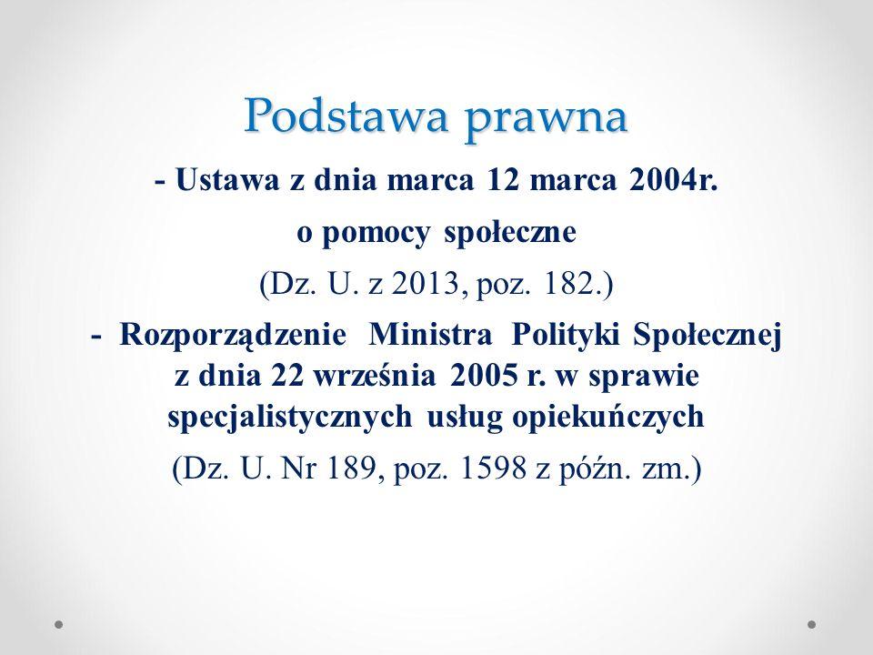 Podstawa prawna - Ustawa z dnia marca 12 marca 2004r. o pomocy społeczne (Dz. U. z 2013, poz. 182.) - Rozporządzenie Ministra Polityki Społecznej z dn