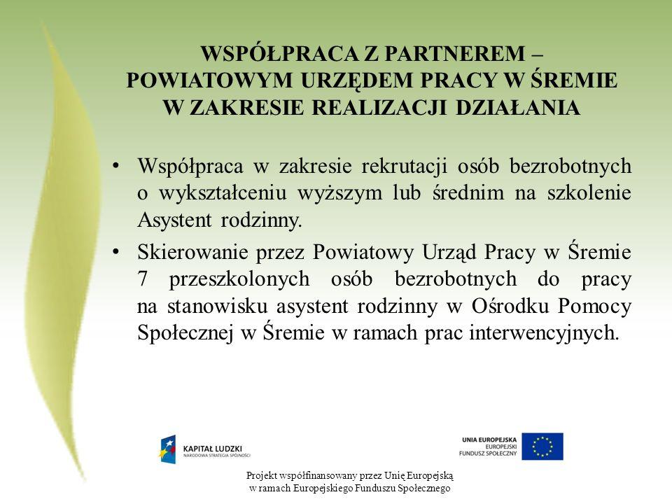 Projekt współfinansowany przez Unię Europejską w ramach Europejskiego Funduszu Społecznego WSPÓŁPRACA Z PARTNEREM – POWIATOWYM URZĘDEM PRACY W ŚREMIE