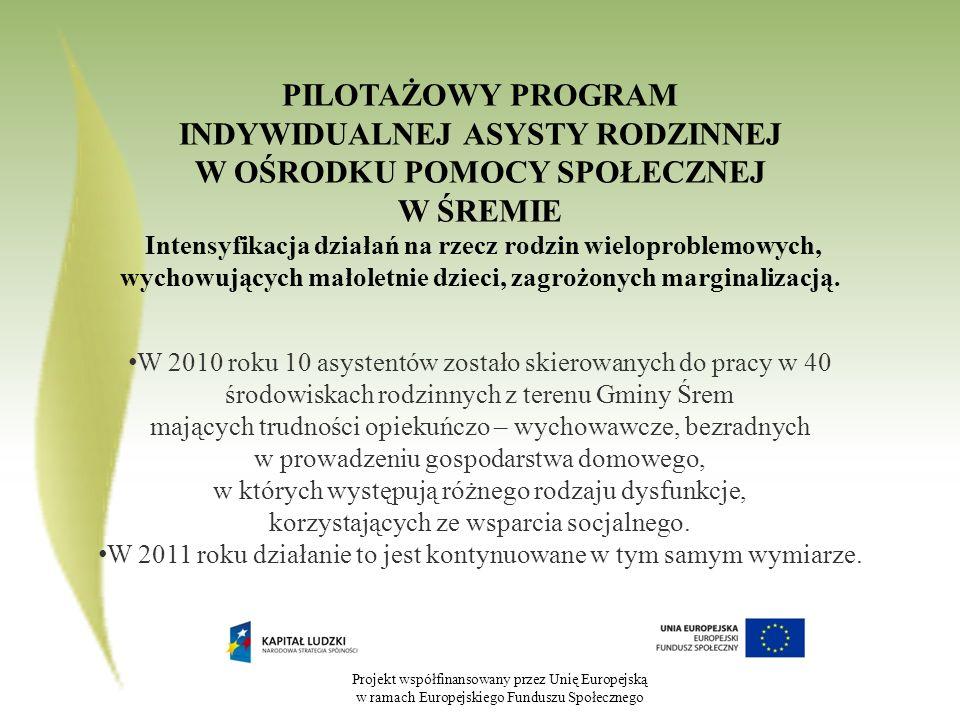 Projekt współfinansowany przez Unię Europejską w ramach Europejskiego Funduszu Społecznego PILOTAŻOWY PROGRAM INDYWIDUALNEJ ASYSTY RODZINNEJ W OŚRODKU