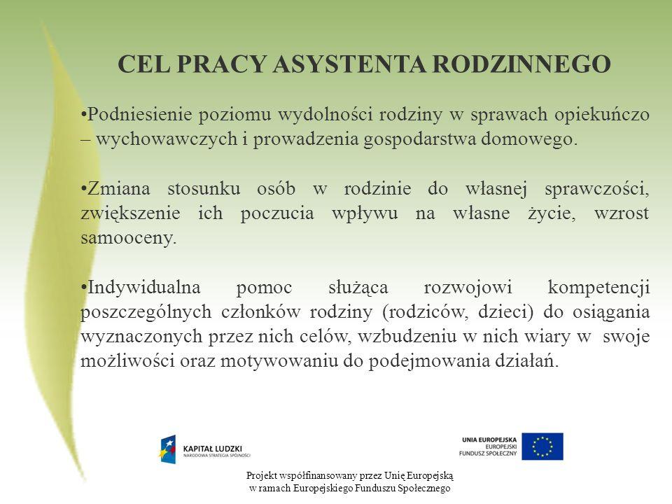 Projekt współfinansowany przez Unię Europejską w ramach Europejskiego Funduszu Społecznego CEL PRACY ASYSTENTA RODZINNEGO Podniesienie poziomu wydolno