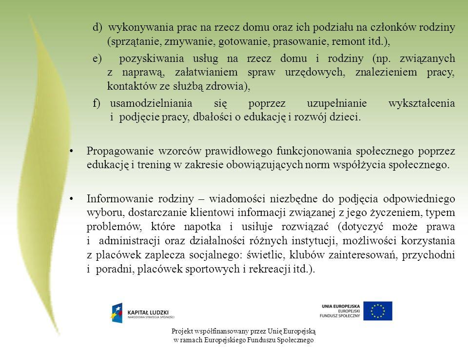 Projekt współfinansowany przez Unię Europejską w ramach Europejskiego Funduszu Społecznego d) wykonywania prac na rzecz domu oraz ich podziału na czło