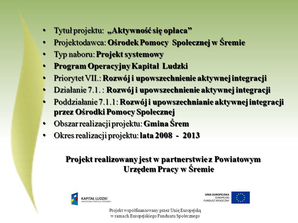 Projekt współfinansowany przez Unię Europejską w ramach Europejskiego Funduszu Społecznego Tytuł projektu: Aktywność się opłaca Tytuł projektu: Aktywn
