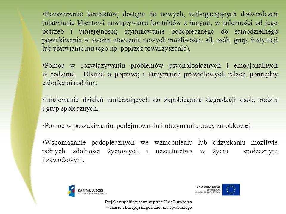 Projekt współfinansowany przez Unię Europejską w ramach Europejskiego Funduszu Społecznego Rozszerzanie kontaktów, dostępu do nowych, wzbogacających d
