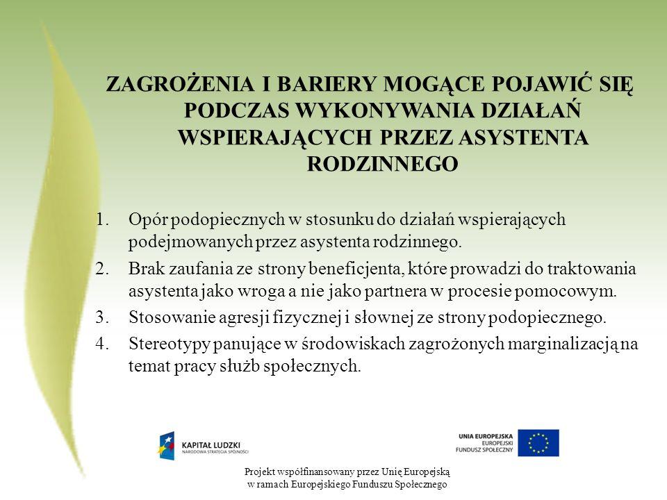 Projekt współfinansowany przez Unię Europejską w ramach Europejskiego Funduszu Społecznego ZAGROŻENIA I BARIERY MOGĄCE POJAWIĆ SIĘ PODCZAS WYKONYWANIA