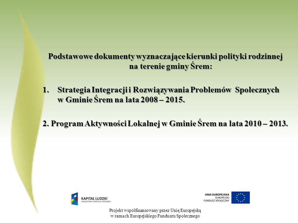Projekt współfinansowany przez Unię Europejską w ramach Europejskiego Funduszu Społecznego Podstawowe dokumenty wyznaczające kierunki polityki rodzinnej na terenie gminy Śrem: 1.Strategia Integracji i Rozwiązywania Problemów Społecznych w Gminie Śrem na lata 2008 – 2015.