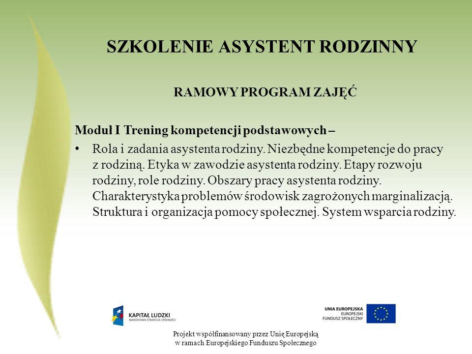 Projekt współfinansowany przez Unię Europejską w ramach Europejskiego Funduszu Społecznego Główne zadania asystenta rodzinnego: Świadczenie pracy środowiskowej z rodziną korzystającą ze świadczeń ośrodka pomocy społecznej objętej kontraktem socjalnym w ramach projektu Aktywność się opłaca zwłaszcza w zakresie: Wspierania rodziny poprzez konsultacje i działania o charakterze edukacyjnym w zakresie: a)prawidłowego wychowania i opieki nad dziećmi (organizowanie czasu wolnego dzieciom, budowanie prawidłowych więzi między członkami rodziny, rozwijanie umiejętności wychowawczych, aktywne uczestnictwo w życiu szkolnym dziecka, pomoc w nauce szkolnej), b)dbania o zdrowie (higiena, pielęgnacja, prawidłowe odżywianie, rekreacja, w razie potrzeby: leczenie i rehabilitacja), c)gospodarowania budżetem domowym (planowanie i monitorowanie wydatków, oszczędne gospodarowanie mediami)